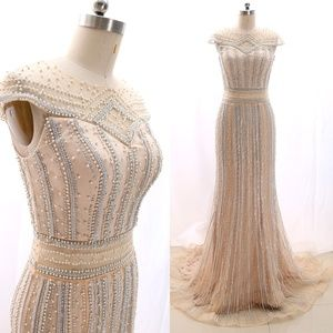 Beaded Champagne Prom Dress Formal Evening Gown